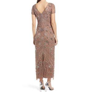 Pisarro Nights Heavy Beaded Mesh Column Gown sz 8